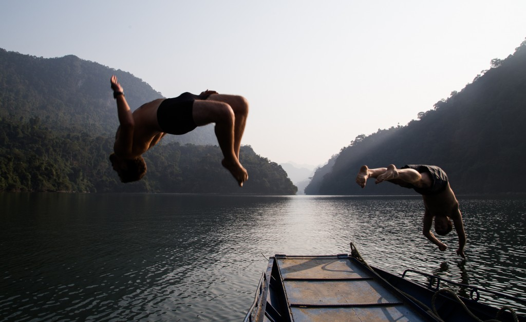 our Aussie friend Celli backflipped into the lake