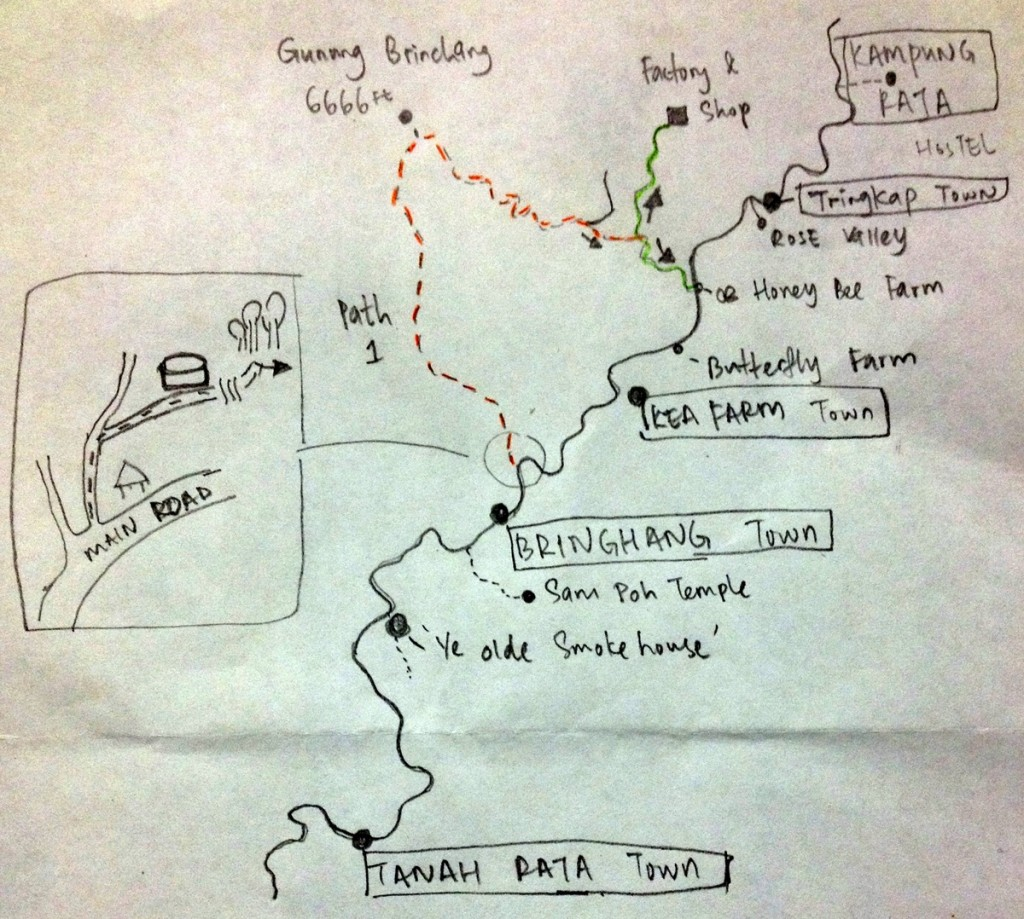 Hand-drawn map of Cameron Highlands