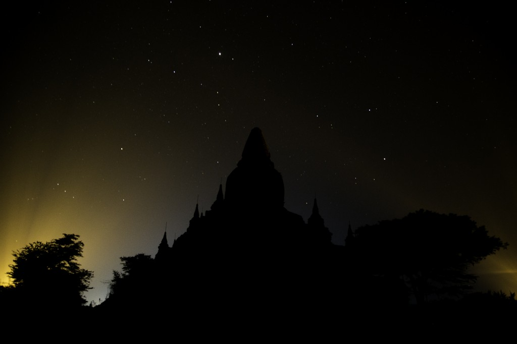 stars over a stupa in Bagan
