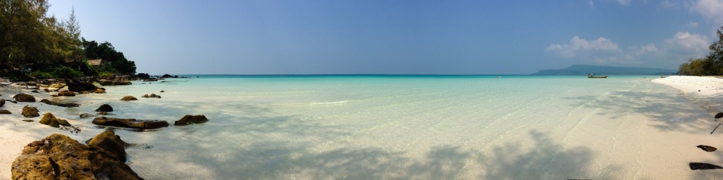 Panorama of Long Beach on the backside of Koh Rong Island, Cambodia
