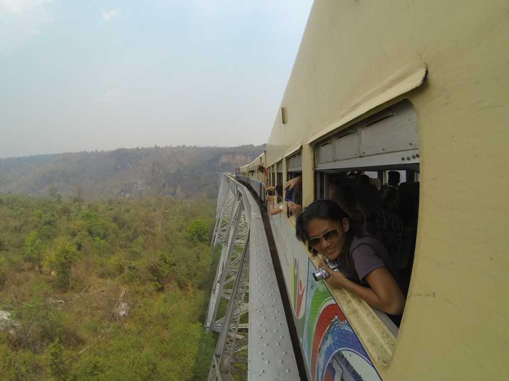 Mg, from Singapore, peeks out of the train as we cross the Gokteik Viaduct -- a bridge built in 1901. She has no idea that in less than a week she will be a Mr. Shake Challenge co-champion.