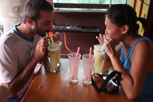 An hour into the challenge and we had only had one shake each -- it was time for a double order of lemon-honey-ginger to step up the pace.