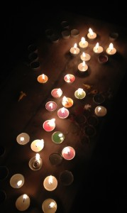A light offering in the stupa garden -- dedicated to those who have passed away or are suffering